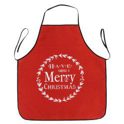 Merry Christmas Print Waterproof Kitchen Apron - RED 80*70CM
