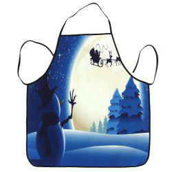 Christmas Snowman Moon Waterproof Kitchen Apron -