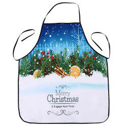 Christmas Snowscape Printed Waterproof Cooking Apron - COLORMIX 80*70CM