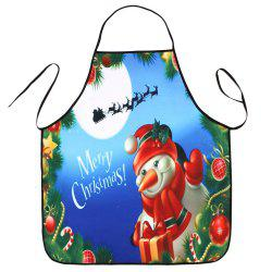 Christmas Snowman Print Waterproof Cooking Apron -