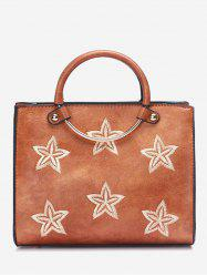Round Ring Stars Embroidery Handbag -