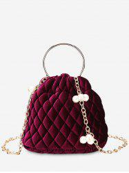 Faux Pearl Stitching Quilt Crossbody Bag -