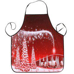 Christmas Snowscape Printed Waterproof Kitchen Apron -