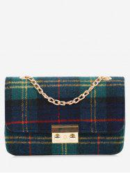 Chain Plaid  Color Block Crossbody Bag - GREEN