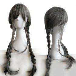 Long Side Fringe Double Braids Synthetic Wig - GRAY