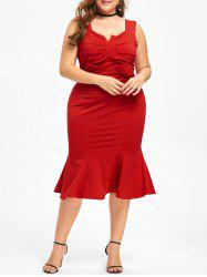 Plus Size Sleeveless Midi Fishtail Dress - Red - Xl