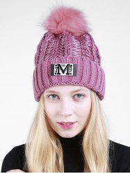 Lettre M Embellished Thicken Knit Pom Beanie - Pourpre