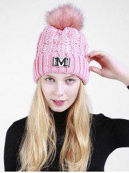 Lettre M Embellished Thicken Knit Pom Beanie - ROSE PÂLE