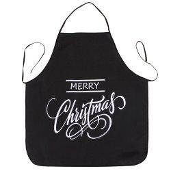 Merry Christmas Letters Print Waterproof Kitchen Apron - BLACK 80*70CM