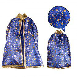 Halloween Party Costume Witch Wizard Stars Cloak and Hat for Children - BLUE