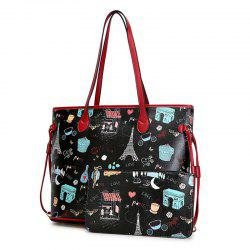 Print 2 Pieces Shoulder Bag Set - BLACK