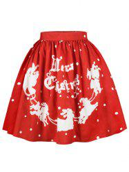 Christmas Polka Dot Sled A Line Skirt - RED XL