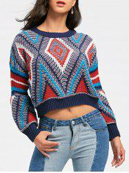 Argyle Puff Sleeve Crew Neck Cropped Sweater -