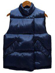 Asymmetrical Snap Button Up Quilted Vest - CADETBLUE 2XL