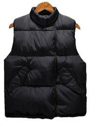 Asymmetrical Snap Button Up Quilted Vest - BLACK 3XL
