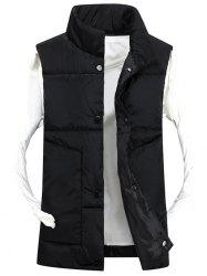 Snap Button Funnel Collar Quilted Vest - BLACK 3XL