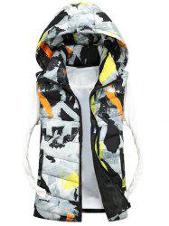 Zip Up Camo Hooded Quilted Vest - WHITE 3XL