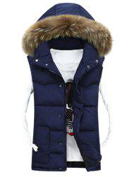 Faux Fur Detachable Hood Quilted Vest - PURPLISH BLUE 2XL