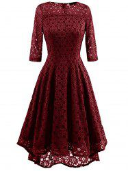 High Low Lace Crochet A Line Midi Dress - WINE RED S