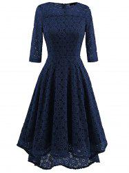 High Low Lace Crochet A Line Midi Dress - CERULEAN L