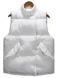 Asymmetrical Snap Button Up Quilted Vest - WHITE 3XL
