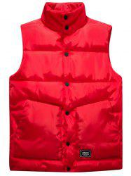 Snap Button Up Graphic Print Quilted Vest - RED 4XL