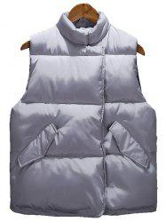 Asymmetrical Snap Button Up Quilted Vest - GRAY XL