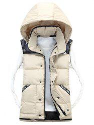 Detachable Hood Camo Pattern Quilted Vest - OFF-WHITE XL