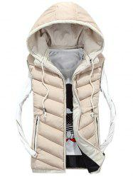 Detachable Hood Zip Up Quilted Vest - OFF-WHITE L