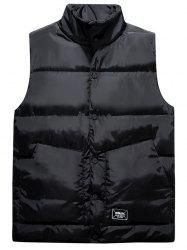 Snap Button Up Graphic Print Quilted Vest - BLACK 3XL