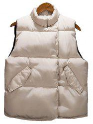 Asymmetrical Snap Button Up Quilted Vest - BEIGE XL