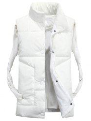 Snap Button Funnel Collar Quilted Vest - WHITE L