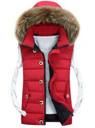 Zip Up Detachable Hood Padded Vest - RED M