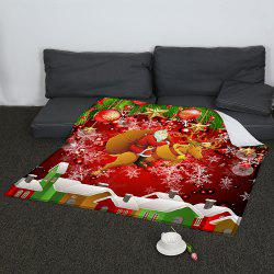 Santa Claus and Baubles Pattern Coral Fleece Sofa Blanket - COLORFUL W59INCH*L70INCH