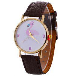 Flamingo Face Faux Leather Strap Watch - Brun