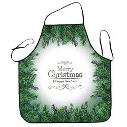 Christmas Pine Tree Print Waterproof Kitchen Apron -