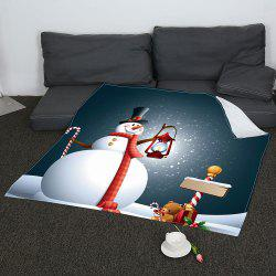 Coral Fleece Snowman Small Bear Print Blanket -