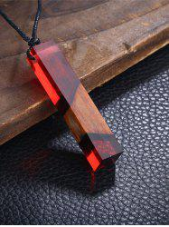 Wood Resin Geometric Pendant Collarbone Necklace - RED
