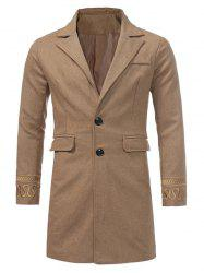 Single Breasted Embroidered Longline Woolen Coat - KHAKI XL