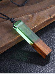 Resin Wooden Geometric Collarbone Pendant Necklace - GREEN