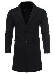 Single Breasted Embroidered Longline Woolen Coat - BLACK 3XL