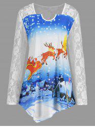Christmas Elk Moon Plus Size Lace Yoke T-shirt -