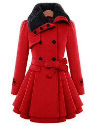 Skirted A Line Coat with Belt - RED S