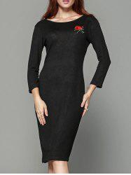 Tiny Rose Print Back Cut Out Sheath Dress - BLACK M