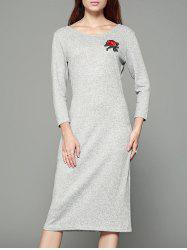 Tiny Rose Print Back Cut Out Gaine Robe - Gris Clair M