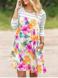 Stripe Sleeve Floral Dress with Pocket - Multicolore L