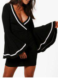 Flare Sleeve Plunging Neck Bodycon Dress - BLACK S
