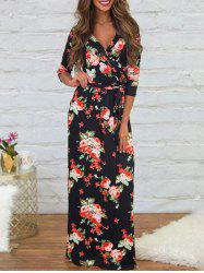 Plunging Neck Printed Dress with Belt - BLACK L