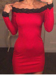Lace Panel Off The Shoulder Bodycon Dress - Rouge XL