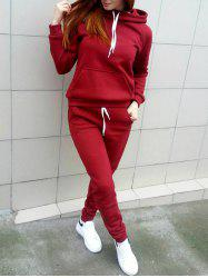 Hooded Front Pocket Sweat Suit - RED M